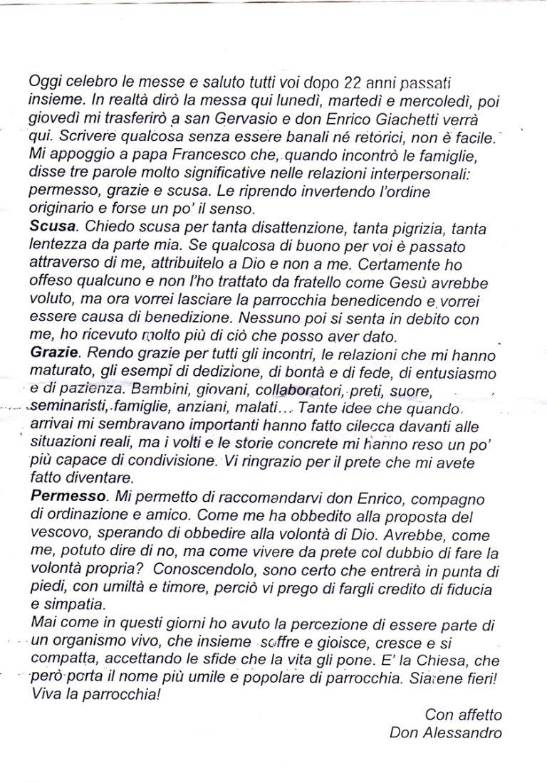 Saluto Don Alessandro